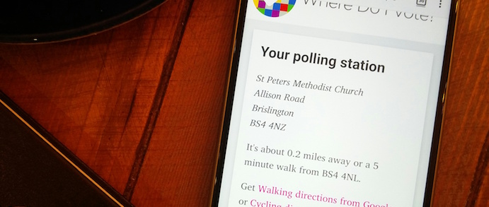 A screenshot of WhereDoIVote.co.uk showing a polling station in Cardiff